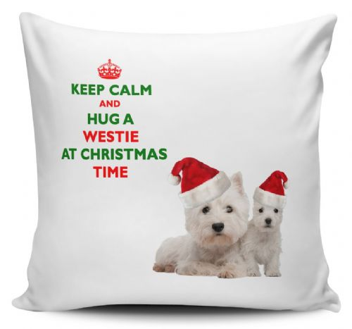 Christmas Keep Calm And Hug A Westie Novelty Cushion Cover